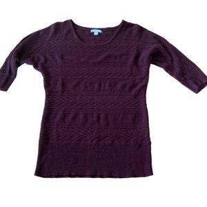 New York & Company Maroon knit 3/4 sleeve top